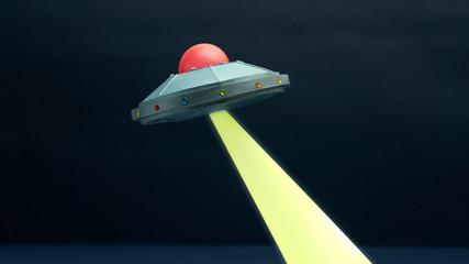 Illustration of UFO in sky at night