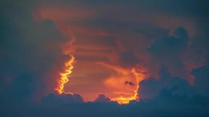 Fotobehang - Epic storm tropical clouds sunset sky. 4K UHD Timelapse.