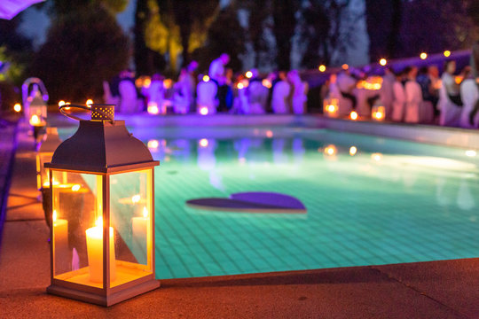 wedding reception by the pool at night