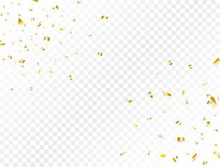 Confetti golden splash. Glitter gold confetti falling on transparent background. Shiny party frame. Bright festive tinsel. Celebration holiday design elements for web, flyer. Vector illustration
