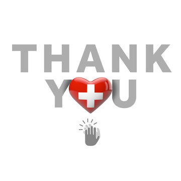 Thank you message with Switzerland flag heart. 3D Render
