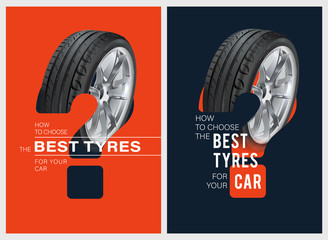Wheel. Black rubber tire. How to choose the best tyres for your car poster. 3D illustration of car tire. Realistic vector shining disk car wheel tyre. Aluminum wheels. Promo. Information. Wheel choice Fototapete