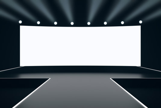 Modern stage with blank white wide screen display and light spots 3D render mockup