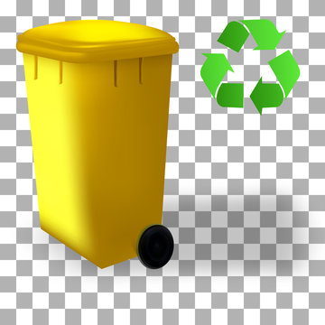 Sorting system, recycled symbol on colorful containers. Set of street dustbin. Bin trash isolated container.