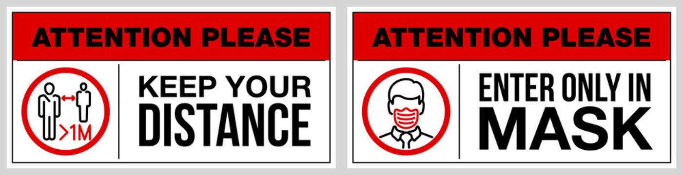 set of stickers for public institutions calling for prevention of coronavirus: keep distance 1 meter, wear a mask on face, stay at home. Prevention Coronavirus Covid 19 pandemic quarantine banner set