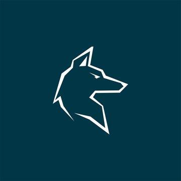 mono line wolf or fox logo