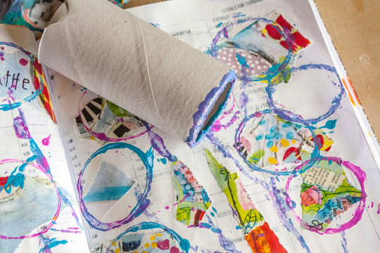 Use the toilet paper roll in an art journal to paint with.