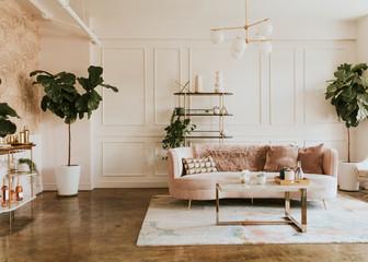 Fototapeta Stylish pastel living room obraz