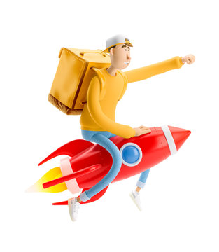 Express delivery concept. 3d illustration. Cartoon character. Delivery guy flies on a rocket with urgent order in yellow uniform stands with the big bag.