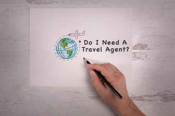 Sketched doodle of the world with cartoon airplane with arrow going around the earth travel industry do I need a travel agent message