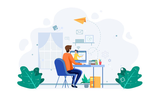 Student do online education, hear to the tutor in the computer. e-learning concept. Business worker work from home. Male with computer illustration concept. Vector