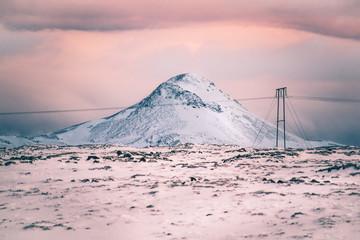 Foto op Textielframe Lichtroze Różowy Zachód Słońca