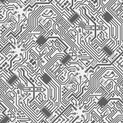 Circuit board electronic hi tech seamless diagonal pattern. Vector abstract computer chip grey monochrome background.