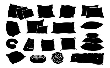 Black glyph pillow flat set. Monochrome solid cushion shapes. Bed sleep pillows contour. Feather pad, bamboo eco fabric. Blank template various design silhouette. Isolated on white vector illustration