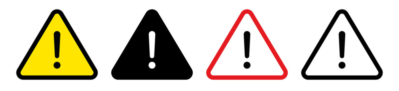 Exclamation mark icon collection.Danger warning set.Triangular warning symbols with Exclamation mark.Vector