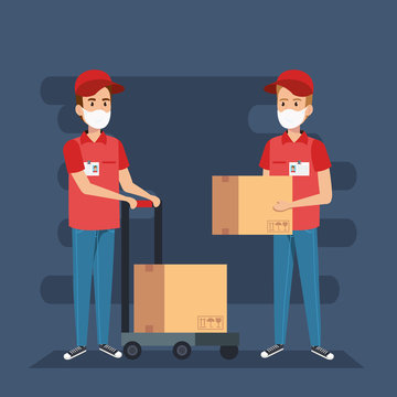 delivery workers using face mask with boxes carton vector illustration design