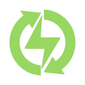 Renewable green energy icon. Flat icon illustration for perfect web and mobile design. Ecology and environment concept.