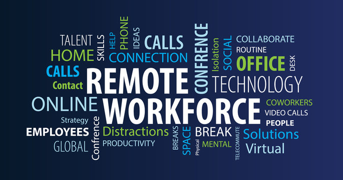 Remote Workforce Word Cloud on a Blue Background