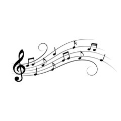 Music notes. Music notes on wavy lines with swirls. Vector illustration.
