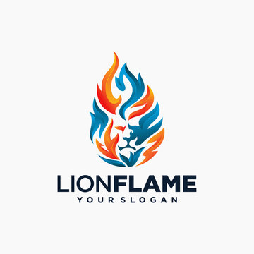 Lion flame fire logo design vector illustration