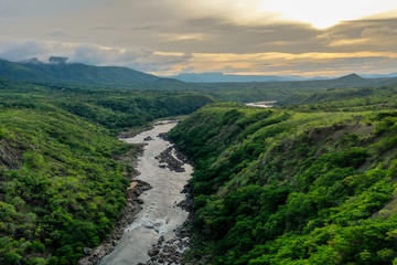 African river from above. The Kwanza River, Angolas largest river gorge.  Wall mural