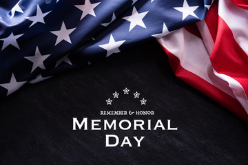Happy Memorial Day. American flags with the text REMEMBER & HONOR against a blackboard background. May 25. Wall mural