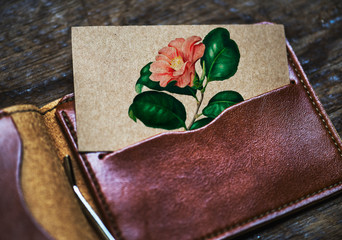 Wall Mural - Calling card mockup in a wallet