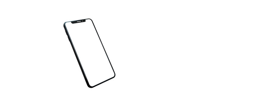 concept - cell phone sideways with white background - easy modification