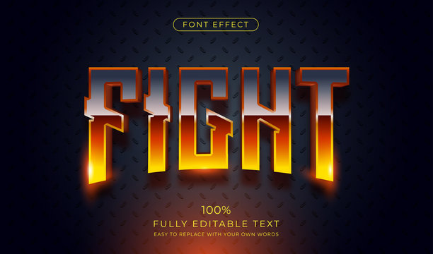 Hot Fight text effect. Editable font style
