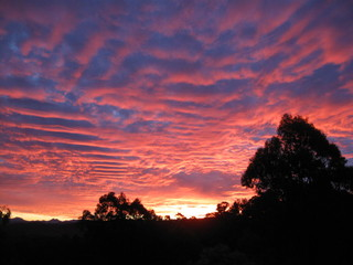 Foto auf AluDibond Hochrote Silhouette Of Landscape Against Cloudy Sky