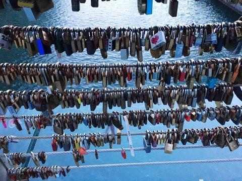 High Angle View Of Love Locks On Bridge Over Lake