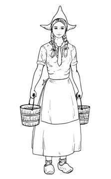 Drawing of classic Dutch milkmaid.