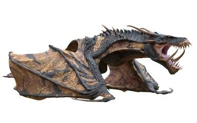 Fantasy dragon isolated on white 3d illustration