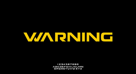 Warning. Abstract technology science alphabet font. digital space typography vector illustration design