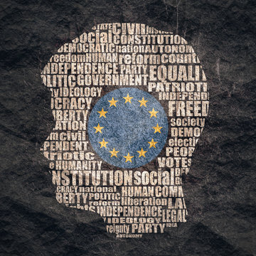 Head of man filled by word cloud. Words related to politics, government, parliamentary democracy and political life. Flag of the European Union