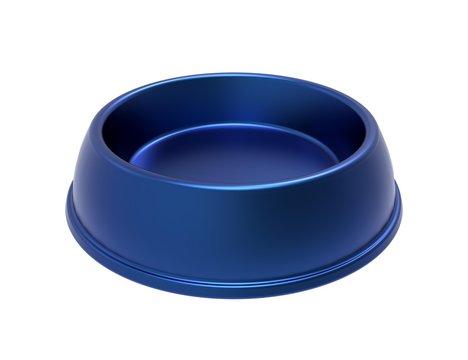 Blue dog and cat bowl. 3D illustration.