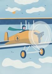 Illustration of woman flying biplane