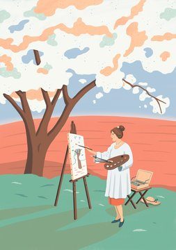 Illustration of woman painting outdoors