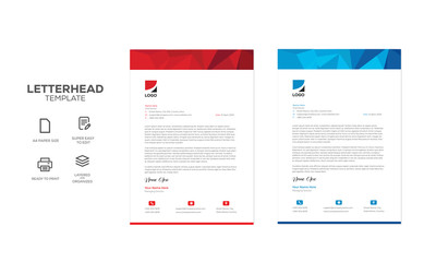 Corporate letterhead design template red and blue
