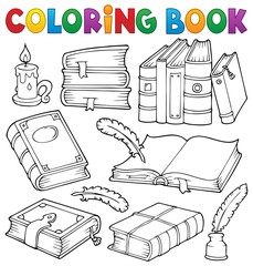 Photo sur Plexiglas Enfants Coloring book old books theme set 1