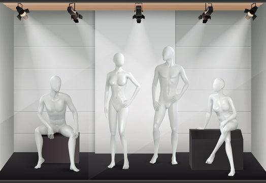 Mannequin Shop Realistic Composition