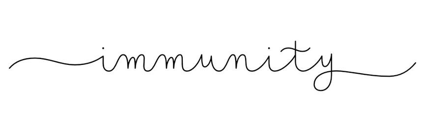 Zelfklevend Fotobehang Positive Typography IMMUNITY vector monoline calligraphy banner with swashes