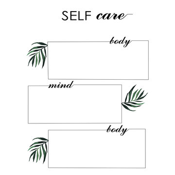 concept for diary selcare three windows for writing body mind with leaves