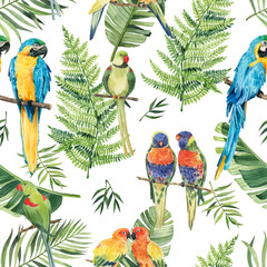 Pattern with beautiful watercolor parrots and tropical leaves. Tropics. Realistic tropical leaves. Tropical birds.