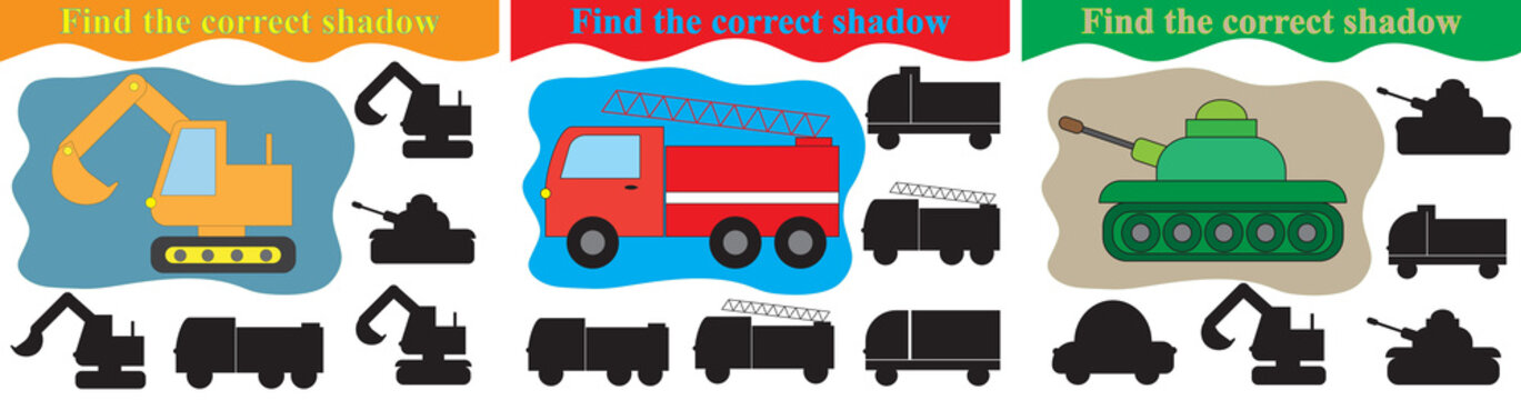 Education for kids. Find silhouettes of different transport, set of games. Vector illustration.
