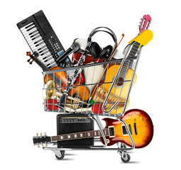Poster Music store stack pile collage of various musical instruments in shopping cart. Electric guitar violin piano keyboard bongo tamburin harmonica trumpet. store online shop studio music concept isolated background