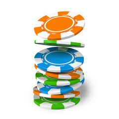 ชิปคาสิโนที่ตกลงมาสร้างกองซ้อนในภาพประกอบ 3 มิติ  กองเงินหรือเงินสดสำหรับเกมเช่นโปกเกอร์แบล็คแจ็คบาคาร่าและรูเล็ต