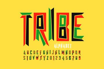 Fototapeta Tribal style font design, capital alphabet letters and numbers obraz
