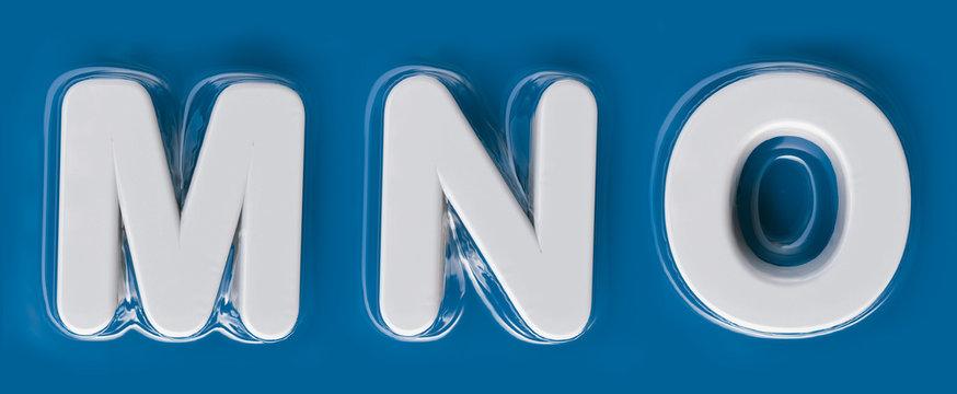 Plasticized Letters M, N, O. Vacuum packed alphabet. white plastic letters on blue background. 3D render. Plastic transparent.