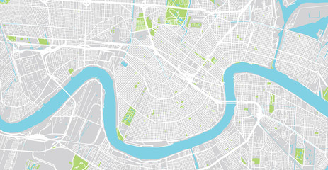 Urban vector city map of New Orleans, Louisiana, United States of America Fotomurales